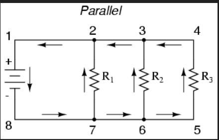 parallel circuit  3 swimming electrons